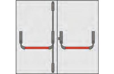Griff Panic Omec Zusammensetzung Türen zwei Türen drei Punkte Schließen