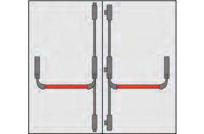 Griff Panic Omec Zusammensetzung Türen zu zwei Ante fünf Punkte Closing