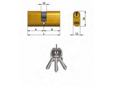Doppelzylinder Omec Messing Oval 5 Pins 70 mm L 27/43