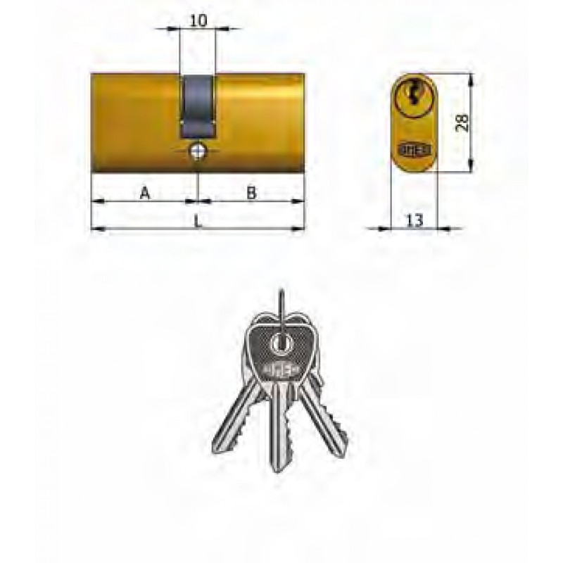 Art.140 / 13 Omec; Doppelzylinder Messing Oval (5 Pins)