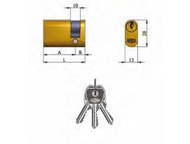 Halbzylinder Omec Messing Oval 5 Pins 43 mm L 33/10