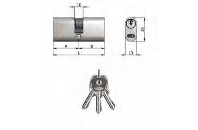 Doppelzylinder Omec Messing Nickel Oval 5 Pins 65 mm L 30/35