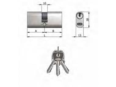 Doppelzylinder Omec Messing Nickel Oval 5 Pins 96mm L 43/53