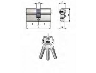 Doppelzylinder Omec Messing Nickel Shaped 6 Pins 70mm L 30/40