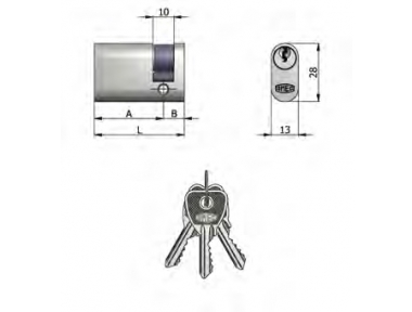 Halbzylinder Omec Messing Oval Nickel 5 Pins 53mm L 43/10