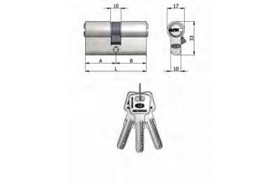 Doppelzylinder Omec Messing Nickel geformte Stifte 6 L 100mm 45/45