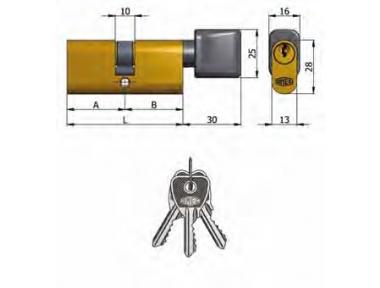 Doppelzylinder Omec mit Knöpfe Messing Oval 5 Pins 80 mm L 53/27