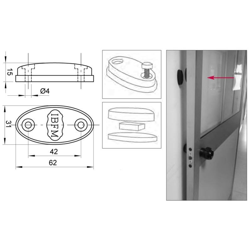 Magnetische Türstopper für Eisentüren Holz oder Aluminium IBFM