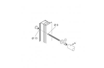 Befestigungssatz PBA 01 Einhand durch Türen aus Aluminium, Eisen, Holz