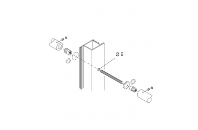 Befestigungssatz PBA 710 Griffe Drehmoment für Türen aus Aluminium, Eisen, Holz