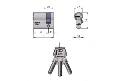 Omec-förmiger Halbzylinder 6 Stifte L 60 mm 30/30
