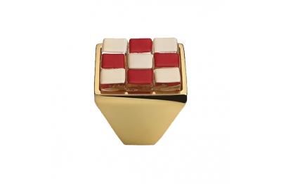 Mobil Linea Cali Knopf Kristall BRERA CHESS PB 28 OZ einfügen Glas Rot Weiß