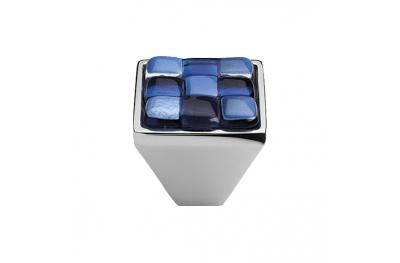Mobil Linea Cali Knopf Kristall BRERA CHESS PB CR Einsatz 30 Glas Blau Weiß