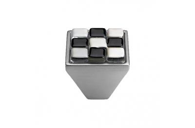 Mobil Linea Cali Knopf Kristall BRERA CHESS PB 29 CS einfügen Glas Schwarz Weiß