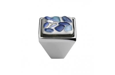 Mobil Linea Cali Knopf Kristall BRERA STONE PB CR Einsatz 27 Blue Glass Blau