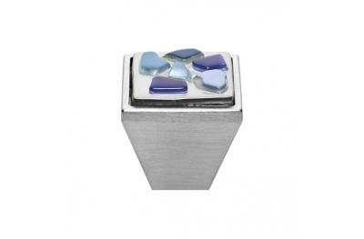 Mobil Linea Cali Knopf Kristall BRERA STONE PB 27 CS einfügen Blue Glass Blau