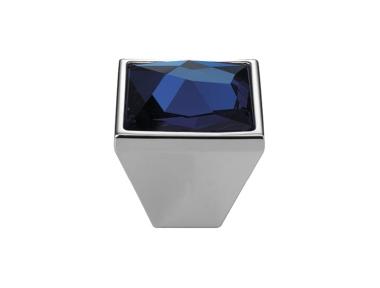 Knopf Linea Cali Mobil Pop-Art-PB mit Kristallen Blau Swarowski® Satin-Chrom