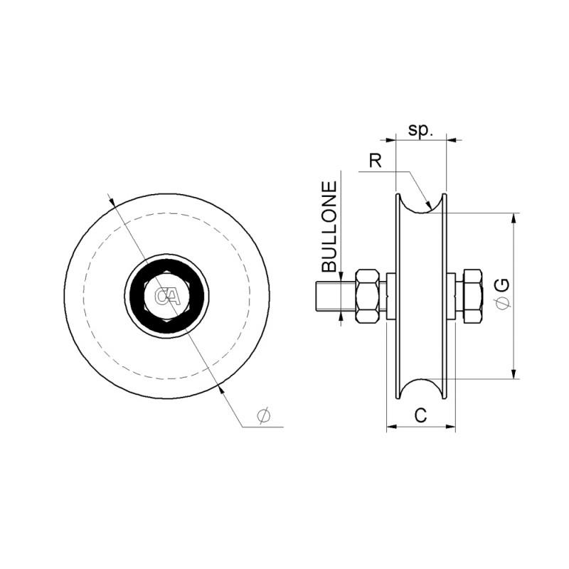 1 Radlager Schiebetor-Schlucht Runde Combiarialdo