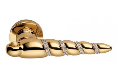 Shell Mesh Vergoldet Türgriff auf Rosette Linea Calì Crystal