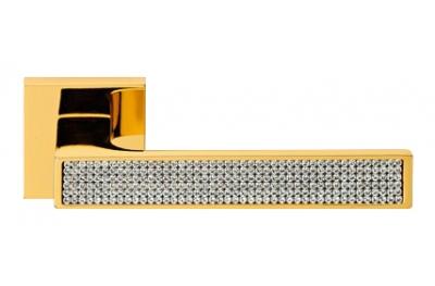 Zen Mesh Vergoldet Türgriff auf Rosette Linea Calì Crystal